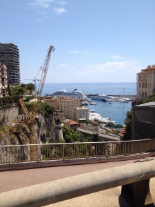 cruise ships line up to get into Monaco.
