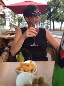 suz has a wine.